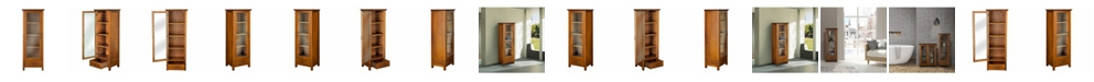 Elegant Home Fashions Avery Linen Cabinet with 1 Door and 1 Bottom Drawer - Wood veneer with Oil Oak finish