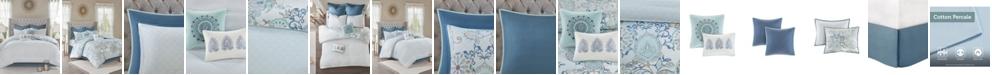 JLA Home Madison Park Isla King 8 Piece Cotton Printed Reversible Comforter Set