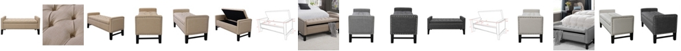 INSPIRED HOME Columbus Button Tufted Storage Bench with Nailhead Trim