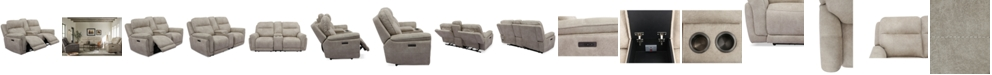 """Furniture Bryer 82"""" Fabric Dual Power Loveseat with Console and USB"""
