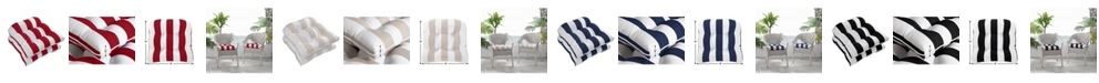 Ornavo Home Water Resistant Indoor or Outdoor Patio Stripe Chair Seat Cushion Pad - Set of 2