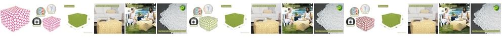 "Majestic Home Goods Large Polka Dot Ottoman Square Pouf 27"" x 17"""