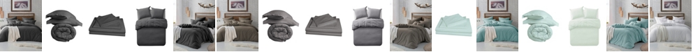 Cathay Home Inc. Microfiber Washed Crinkle Duvet Cover & Shams, Full/Queen