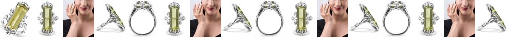 Carolyn Pollack Lemon Quartz (11-1/2 ct. t.w.) Faceted Baguette Ring in Sterling Silver