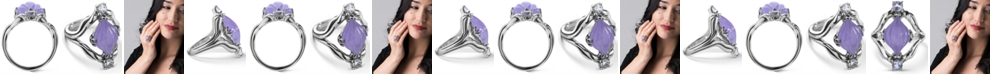 Carolyn Pollack Carved Purple Jade (10x16mm) and White Topaz (1/4 ct. t.w.) Ring in Sterling Silver
