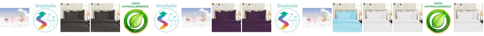 Elegant Comfort Luxurious Silky - Soft Wrinkle Free 3-Piece Stripe Duvet Cover Set, Full/Queen