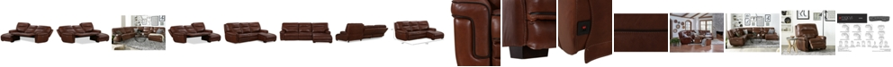 Furniture Myars 3-Pc. Leather Chaise Sectional Sofa With 2 Power Recliners, Power Headrests And USB Power Outlet, Created for Macy's