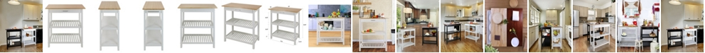 Yu Shan Kitchen Island with Solid Wood