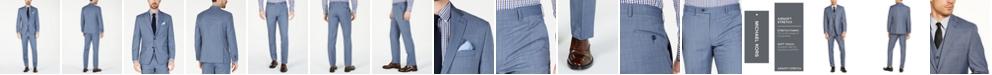 Michael Kors Men's Classic-Fit Airsoft Stretch Light Blue Windowpane Suit Separates