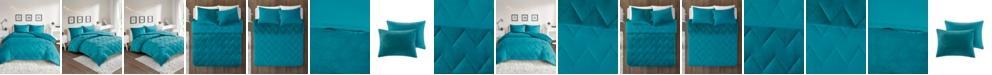 JLA Home Intelligent Design Kai Twin/Twin XL Solid Chevron Quilted Reversible Microfiber to Cozy Plush 2 Piece Comforter Mini Set
