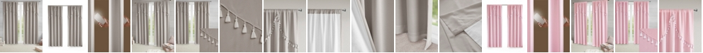 """Intelligent Design Esther Total Blackout Rod Pocket 50"""" x 84"""" Window Panel with Attached Scallop Tassel Valance"""