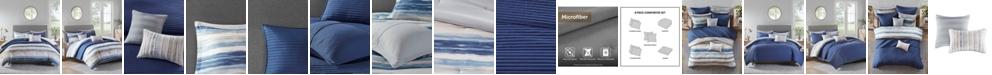 Madison Park Marina Full/Queen 8 Piece Printed Seersucker Comforter and Coverlet Set Collection