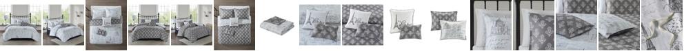 510 Design Marseille Full/Queen 5 Piece Reversible Paris Print Duvet Cover Set