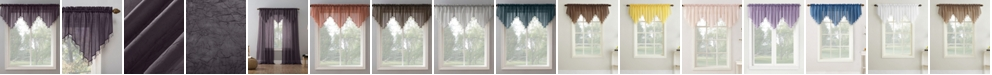 """Lichtenberg No. 918 Crushed Voile 51"""" x 24"""" Beaded Sheer Ascot Valance"""