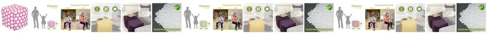"Majestic Home Goods Large Polka Dot Ottoman Pouf Cube 17"" x 17"""
