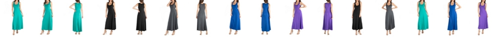 24seven Comfort Apparel Slim Fit A-Line Sleeveless Maxi Dress