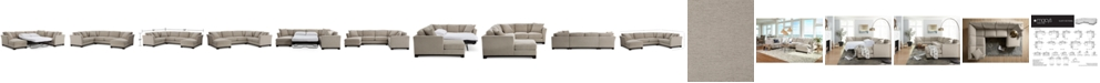 "Furniture Elliot II 138"" Fabric 3-Piece Chaise Sleeper Sectional, Created for Macy's"