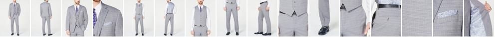 Perry Ellis Men's Slim-Fit Stretch Wrinkle-Resistant Light Gray Tonal Grid Vested Suit