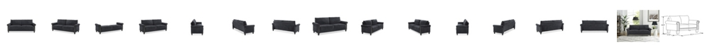 Lifestyle Solutions Ash Microfiber Rolled Arms Sofa With Nail Head Trim