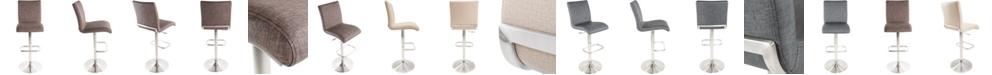 MIX Fogo Faux Fabric Adjustable Swivel Barstool