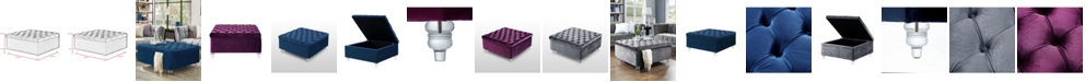 INSPIRED HOME Raphael Velvet Tufted Square Cocktail Storage Ottoman with Acrylic Legs