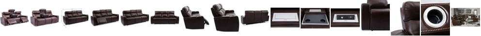 """Furniture Oaklyn 85"""" 3-Piece Leather Sectional Sofa with 2 Power Recliners, Power Headrests, USB Power Outlet And Drop Down Table"""