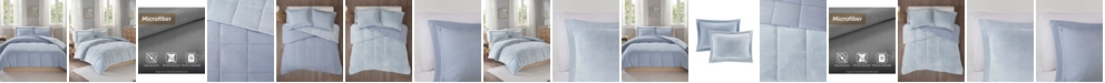 JLA Home Intelligent Design Carson Twin/Twin XL Reversible Frosted Print Plush to Heathered Microfiber 2 Piece Comforter Set