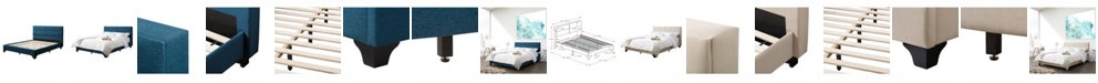 CorLiving Distribution Bellevue Wide-Rectangle Panel Upholstered Bed and Frame, Queen
