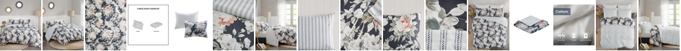 Madison Park Mavis 3 Piece Full/Queen Cotton Printed Reversible Duvet Cover Set