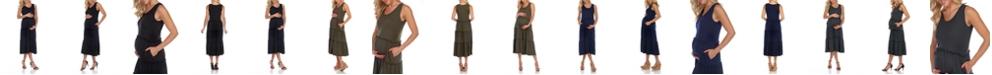 White Mark Maternity Plus Size Scoop Neck Tiered Midi Dress