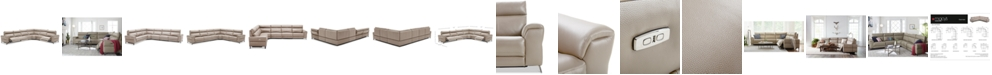 Furniture CLOSEOUT! Raymere 6-Pc. Leather Sectional Sofa With 3 Power Recliners, Power Headrests And USB Power Outlet, Created for Macy's