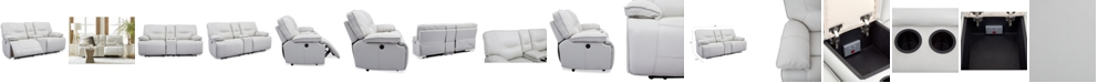 "Furniture CLOSEOUT! Mantella 80"" Leather Sofa with 2 Power Recliners and Console with USB Power Outlet"