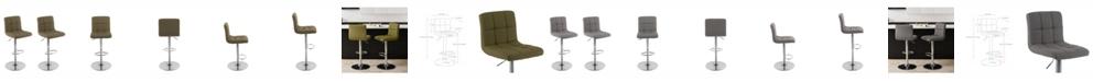Corliving Distribution Corliving Mid Back Square Panel Fabric Adjustable Barstool, Set of 2