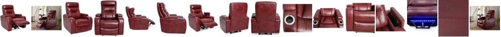"""Furniture Jherrad 33"""" Fabric Dual Power Recliner with Light Strip and Leather look"""