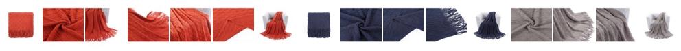 Battilo Textured Solid Soft Sofa Couch Decorative Knit Blanket