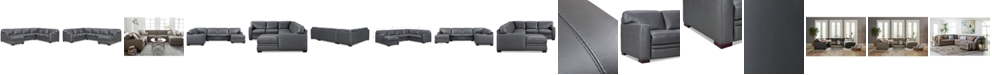 "Furniture Avenell 137"" 3-Pc. Leather Sectional with Chaise, Created for Macy's"