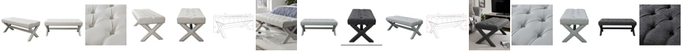 INSPIRED HOME Louis Tufted Nailhead Bench with X-Legs