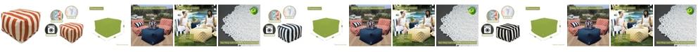 """Majestic Home Goods Vertical Stripe Ottoman Square Pouf 27"""" x 17"""""""