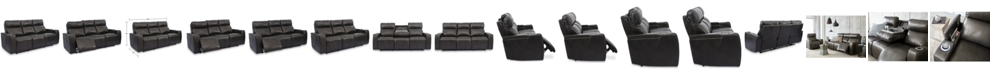 "Furniture Oaklyn 84"" Leather Sofa With Power Recliners, Power Headrests, USB Power Outlet and Drop Down Table"