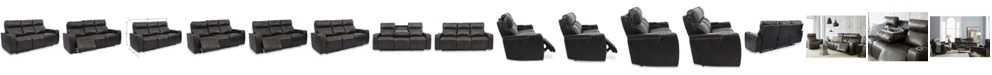 """Furniture Oaklyn 84"""" Leather Sofa With Power Recliners, Power Headrests, USB Power Outlet and Drop Down Table"""