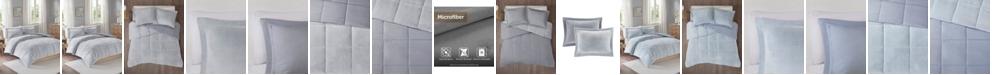 JLA Home Intelligent Design Carson King/California King Reversible Frosted Print Plush to Heathered Microfiber 3 Piece Comforter Set