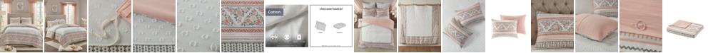 Madison Park CLOSEOUT! Moria King/California King 3-Pc. Cotton Printed Clip Jacquard Duvet Cover Set