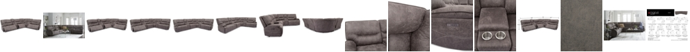 Furniture Felyx 6-Pc. Fabric Sectional Sectional Sofa With 3 Power Recliners, Power Headrests, 2 Consoles And USB Power Outlet