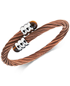 CHARRIOL Tiger's Eye (1mm) Cable Bypass Bangle Bracelet in Stainless Steel PVD Bronze
