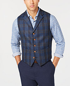 Tallia Men's Slim-Fit Blue Plaid Wool Vest