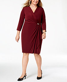 Charter Club Plus Size Faux-Wrap Dress, Created for Macy's