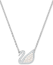 "Swarovski Silver-Tone Crystal & Imitation Pearl Swan 14-3/4"" Pendant Necklace"