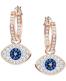 Swarovski Rose Gold-Tone Crystal Evil Eye Hoop Earrings