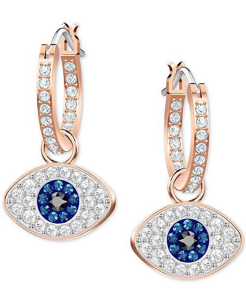 Rose Gold Tone Crystal Evil Eye Small Hoop Earrings S
