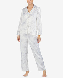 Lauren Ralph Lauren Long Sleeve Satin Pajama Set